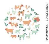 round design element with farm...   Shutterstock .eps vector #1396618028