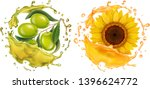 olive and sunflower in oil... | Shutterstock .eps vector #1396624772