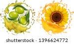 olive and sunflower in oil... | Shutterstock .eps vector #1396624772