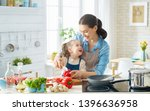 healthy food at home. happy... | Shutterstock . vector #1396636958
