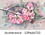 original painting of flower ... | Shutterstock . vector #139666732