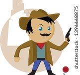 young mustache cowboy in hat...   Shutterstock .eps vector #1396668875