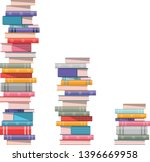 pile of books. 3 stacks of... | Shutterstock .eps vector #1396669958