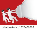 two graduates torn red paper... | Shutterstock .eps vector #1396683635