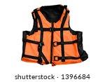 Orange life jacket isolated water sports outfit on white background - stock photo
