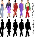 set of fashion models and... | Shutterstock .eps vector #1396687262