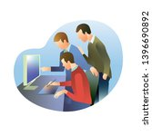 a group of people in the office ... | Shutterstock . vector #1396690892