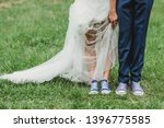 funny wedding bride and groom... | Shutterstock . vector #1396775585