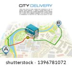 delivery navigation route  city ... | Shutterstock .eps vector #1396781072
