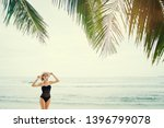 vacation on the seashore.young... | Shutterstock . vector #1396799078