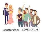happy couple wedding ceremony...   Shutterstock . vector #1396814075