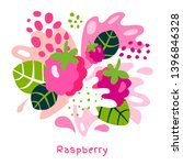 Fresh raspberries berry berries fruits juice splash organic food juicy splatter on abstract background vector hand drawn illustrations