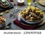 arabic cuisine  middle eastern... | Shutterstock . vector #1396909568