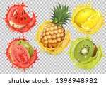 set of fruit juice splash.... | Shutterstock .eps vector #1396948982