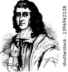 Cecil Calvert Lord Baltimore 1605 to 1675 he was the first proprietor and proprietary governor of the province of Maryland vintage line drawing or engraving illustration