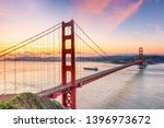 famous golden gate bridge  san... | Shutterstock . vector #1396973672