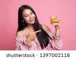 young asian woman point to... | Shutterstock . vector #1397002118