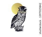 owl in square academic cap and... | Shutterstock .eps vector #1397025842