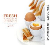 delicious breakfast with boiled ... | Shutterstock . vector #139707568