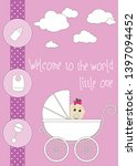 new baby greeting card. a baby... | Shutterstock .eps vector #1397094452