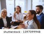 beautiful caucasian brunette... | Shutterstock . vector #1397099948