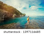 tropical traveling. young woman ... | Shutterstock . vector #1397116685