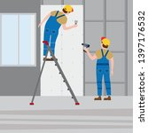 workers put plaster on a... | Shutterstock .eps vector #1397176532