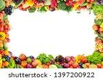 fruits and vegetables frame on... | Shutterstock . vector #1397200922