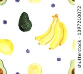 pattern of fruit painted with... | Shutterstock . vector #1397210072