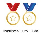medal with star. vector... | Shutterstock .eps vector #1397211905