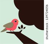 little bird on the tree.   Shutterstock .eps vector #139724056