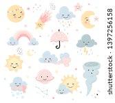 cute weather set. moon  star... | Shutterstock .eps vector #1397256158