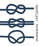 Nautical Blue Knots On White...