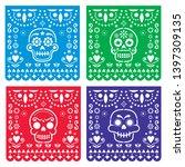 papel picado design with sugar...   Shutterstock .eps vector #1397309135