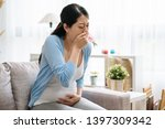 young ill pregnant female have... | Shutterstock . vector #1397309342