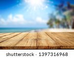desk of free space and summer... | Shutterstock . vector #1397316968