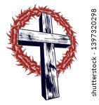 christian cross with blackthorn ... | Shutterstock .eps vector #1397320298