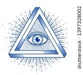 all seeing eye of god in sacred ... | Shutterstock .eps vector #1397328002