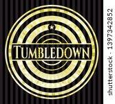tumbledown golden badge. vector ... | Shutterstock .eps vector #1397342852
