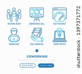 coworking office thin line... | Shutterstock .eps vector #1397371772