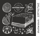 retro vector meat illustration... | Shutterstock .eps vector #1397417162
