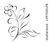 one stylized flower on a stem...   Shutterstock .eps vector #1397420198