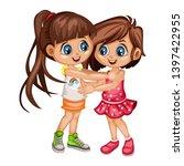 two lovely happy best friends... | Shutterstock .eps vector #1397422955