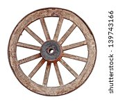 Old Wooden Grunge Wagon Wheel...