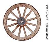 Old Wooden Grunge Wagon Wheel...
