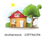 Cartoon House With Tree  Swing...
