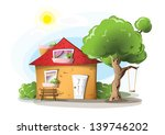 cartoon house with tree  swing... | Shutterstock . vector #139746202