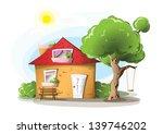 cartoon house with tree  swing... | Shutterstock . vector #139746202