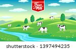 rural landscape with cows in... | Shutterstock .eps vector #1397494235