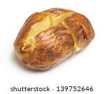 Plain Baked Potato On White...